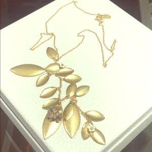 Brand New Loft Leaf Tassle Necklace Gold
